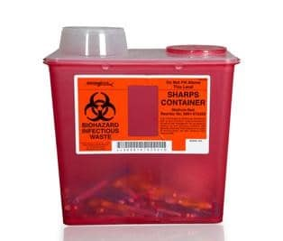 Fig. 2. Sharps containers have a thick outer layer and feature a one-way design that protects against removal of its contents.